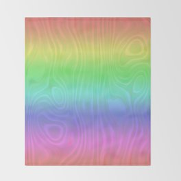 Groovy Pastel Rainbow Throw Blanket