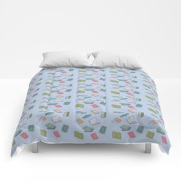 Books on Books (colorful squares) Comforters