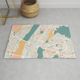 Manhattan New York Map Art Rug