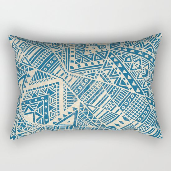 Tribal (blue)  Rectangular Pillow