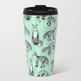 Fox pattern drawing foxes cute andrea lauren mint forest animals woodland nursery Travel Mug