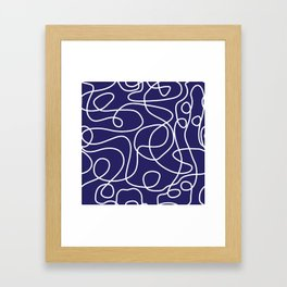 Doodle Line Art | White Lines on Navy Blue Framed Art Print