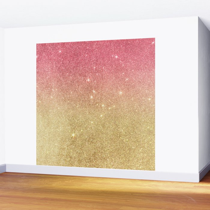 Pink abstract gold ombre glitter Wall Mural