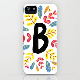 Letter 'B' Initial/Monogram With Bright Leafy Border iPhone Case