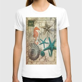 french botanical art seahorse teal green starfish T-shirt