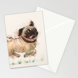The Furminator pug watercolor like art Stationery Cards