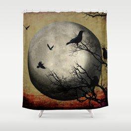 Rustic Black Bird Raven Crow Tree Dark Side of the Moon Gothic Art A169 Shower Curtain