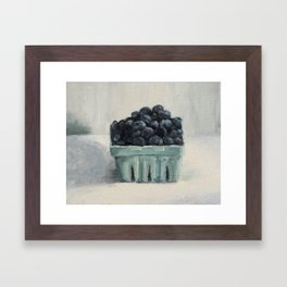blueberries in a paper crate Framed Art Print