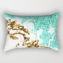 turquoise gold white abstract digital painting Rectangular Pillow
