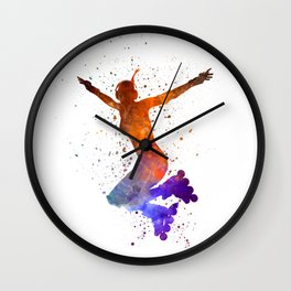 Woman in roller skates 07 in watercolor Wall Clock