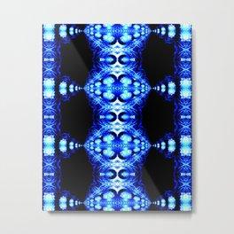 Electric Blue Fractal Pattern Symmetrical Mirrored Art Metal Print