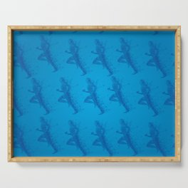 Watercolor running man silhouette background in blue color pattern Serving Tray