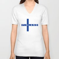 finland V-neck T-shirts featuring finland country flag name text by tony tudor