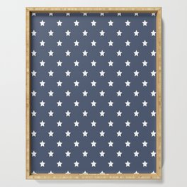 White stars pattern on navy blue background Serving Tray