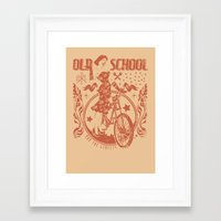 old school Framed Art Prints featuring Old school by Tshirt-Factory