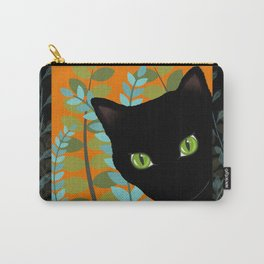 Black Kitty Cat In The Garden Carry-All Pouch