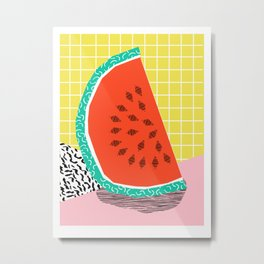 Dyno - watermelon throwback memphis 1980's retro style dots grid bright colorful modern hipster art Metal Print