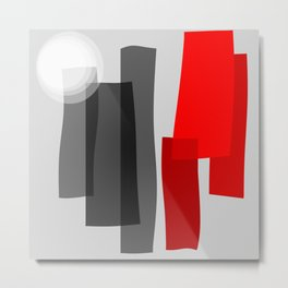 A Place I Remember - Abstract - Black, Gray, Red, White Metal Print