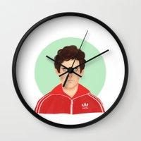 tenenbaum Wall Clocks featuring Chas Tenenbaum by Galaxyspeaking