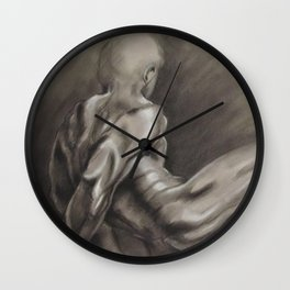 Nude Male Figure Study, Black and White.  Wall Clock