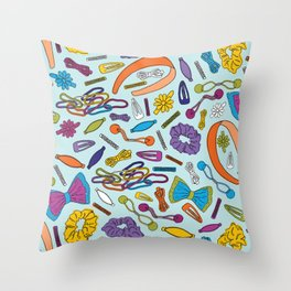 Hair Accessories of my Youth - Blue Throw Pillow