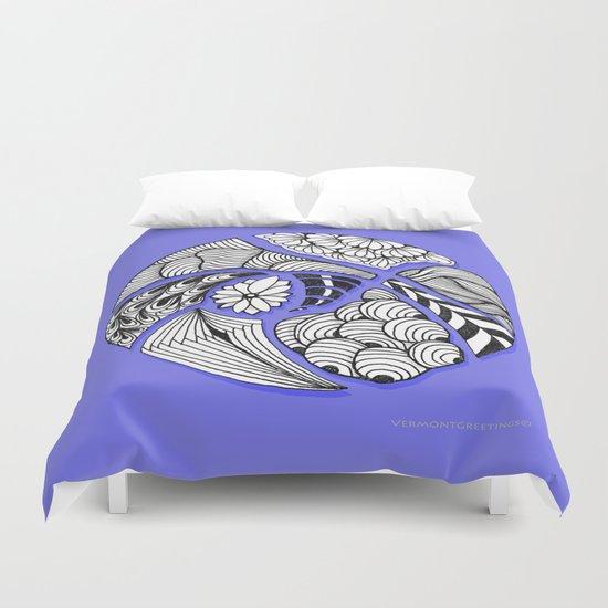 Zentangle Design - Black, White and Purple Illustration Duvet Cover