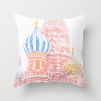 russian Throw Pillows featuring Russian Winter by digital2real