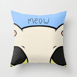 Meow - Blue Throw Pillow