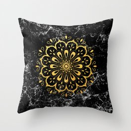 Gold mandala on black marble Throw Pillow