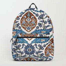Iznik Tile Pattern Blue White Brown Backpack
