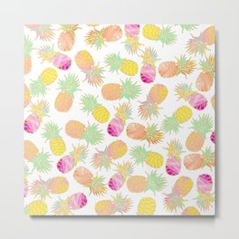 Tropical neon pink teal watercolor faux gold glitter pineapple Metal Print