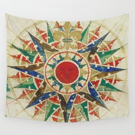 Vintage Compass Rose Diagram (1502) Wall Tapestry