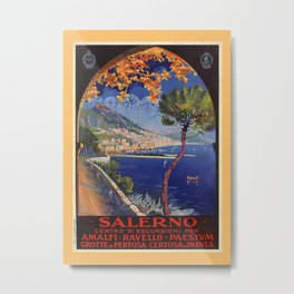 Salerno Italy vintage summer travel ad Metal Print