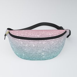 Salmon Pink To Turquoise-Blue Sparkling Glitter Fanny Pack