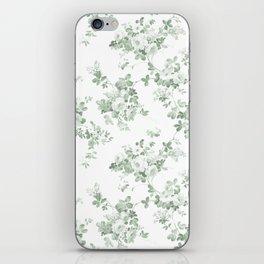 Elegant vintage green white roses shabby floral iPhone Skin