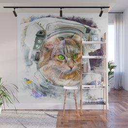 Space Cat Watercolor Wall Mural
