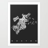 boston map Art Prints featuring BOSTON MAP by Nicksman
