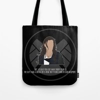 agents of shield Tote Bags featuring Agents of S.H.I.E.L.D. - Skye by MacGuffin Designs