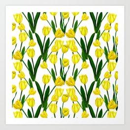 Tulip_Netherlands_Yellow Tulip drawing Art Print