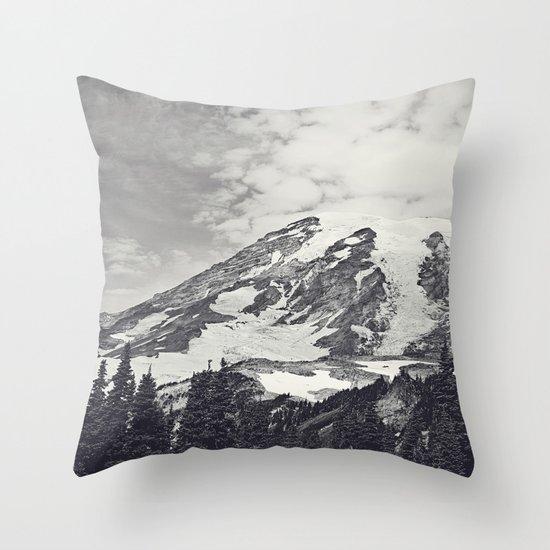 Mount Rainier B&W Throw Pillow