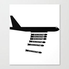 Democracy Bombs War Plane Canvas Print