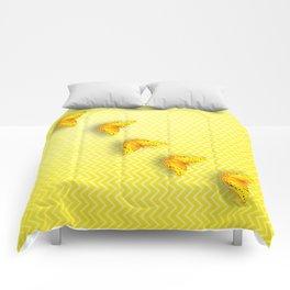 Butterflies on buttercup yellow chevron pattern Comforters