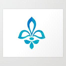 Blue Fleur De Lis Abstract Art Print