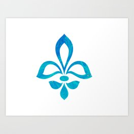 Blue Fleur De Lis Abstract Art Print
