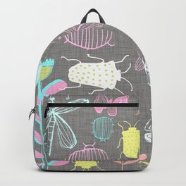 Insect watercolor grey textile texture Backpack