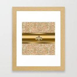 Pink & Gold Glitter Fleur De Lis Framed Art Print