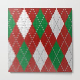 Knitted argyle Christmas sweater pattern on red Metal Print