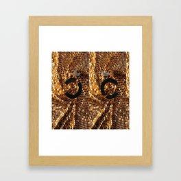 glamour vintage earrings black gold Framed Art Print