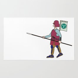 Japanese Samurai Soldier Rug
