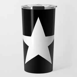 White star on black background Travel Mug